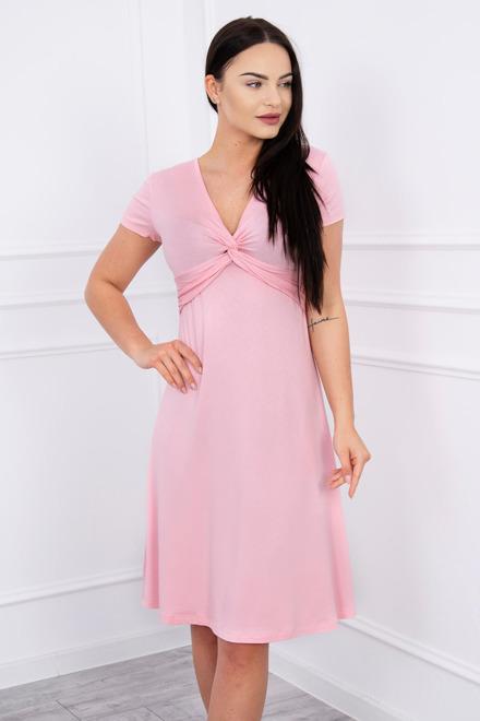 feff94793435 Šaty s ozdobným preložením ružové