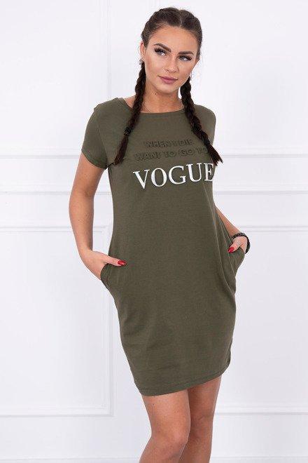 91187b322 Kaki šaty s krátkym rukávom Vogue