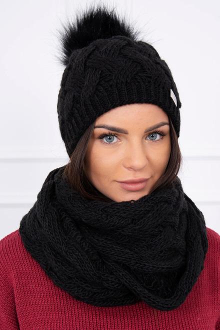 983c457de Pletený set so šálom a čiapkou čierny