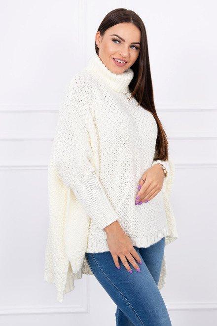 c95b8ec9d206 Dámsky sveter v štýle pončo biely
