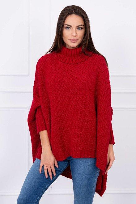 47d64ec37b26 Dámsky sveter v štýle pončo červený