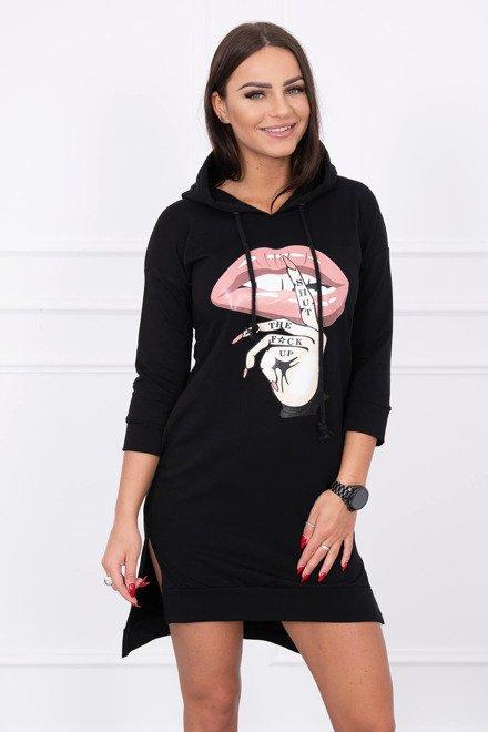46d01615d38c Čierne šaty s farebnou potlačou športové