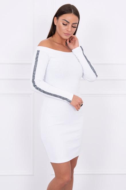 8dff709d5b4a Šaty s brokatovým pásom biele