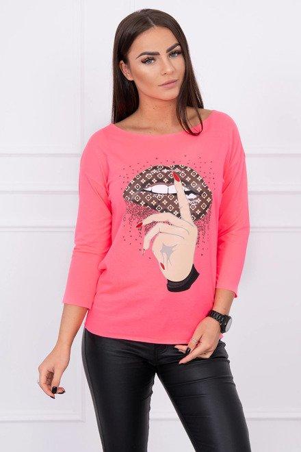 f1251e6386895 Tričko s potlačou a 3/4 rukávom ružový neon