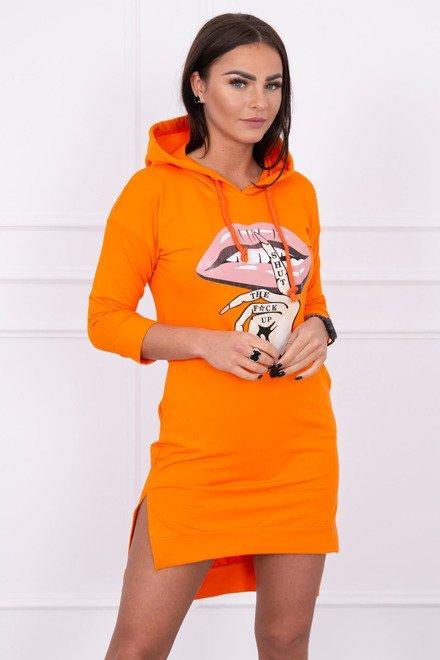 b7071899bc23 Športové šaty s farebnou potlačou pomarančové