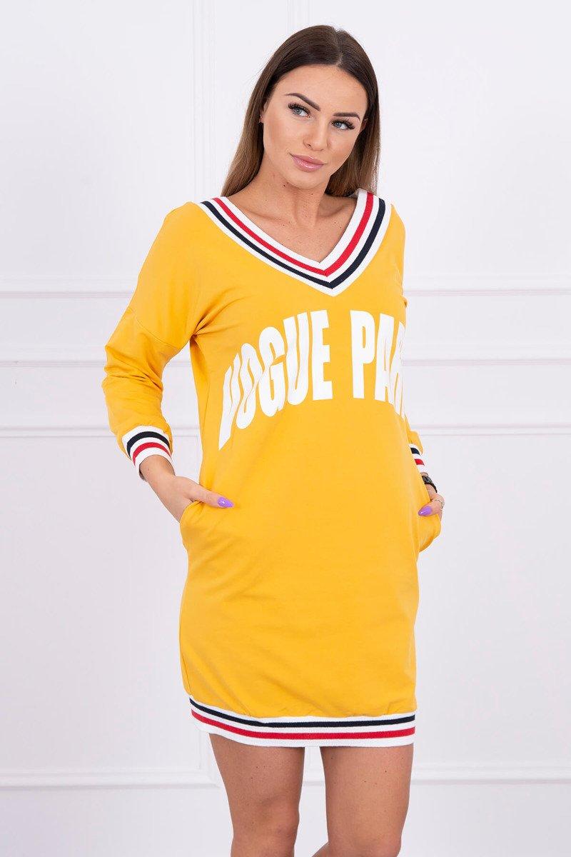 841d2d86d3df5 Športové šaty Vogue paris horčicovo-biele