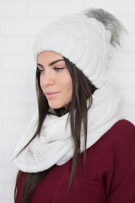b7e1ad23f Dámska súprava na zimu čiapka+šál biela
