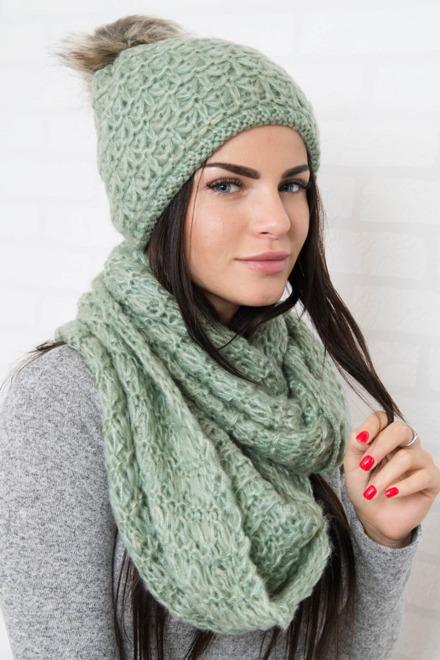 2294c37e7 Dámsky zimný set čiapka - šál zelený
