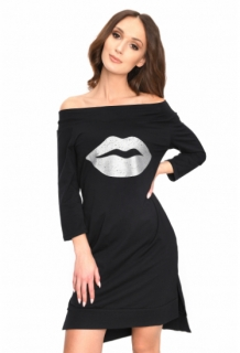 bd9e20a11d49 Športové šaty s potlačou lesklých pier čierne empty